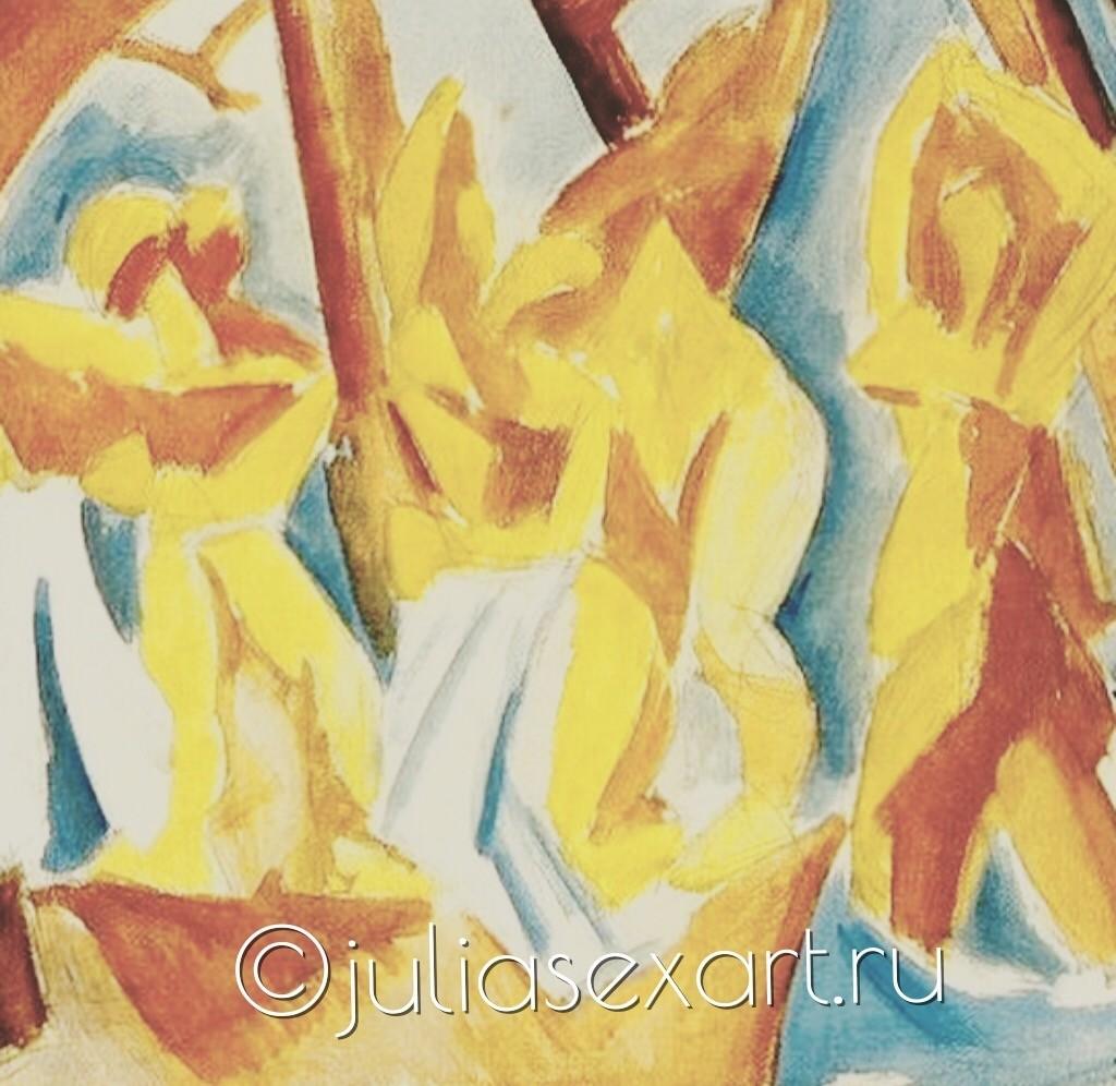 """фото - картина Пикассо """"Купальщицы в лесу"""""""